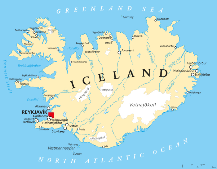 Iceland map with natural landmarks and cities