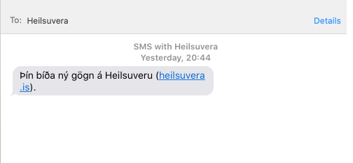 sms confirmation of coronavirus results in iceland