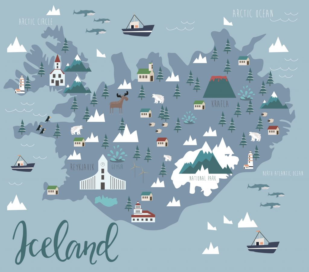 Cartoonish map of Iceland showing the best sights