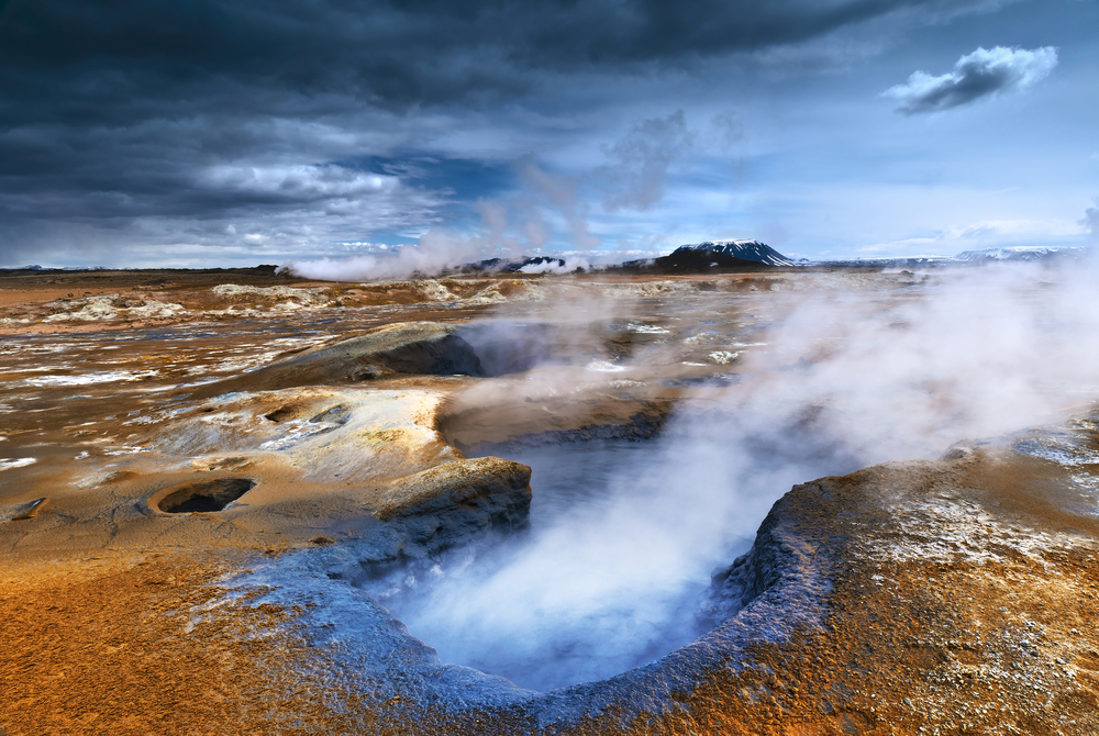 fumaroles in the icelandic ground