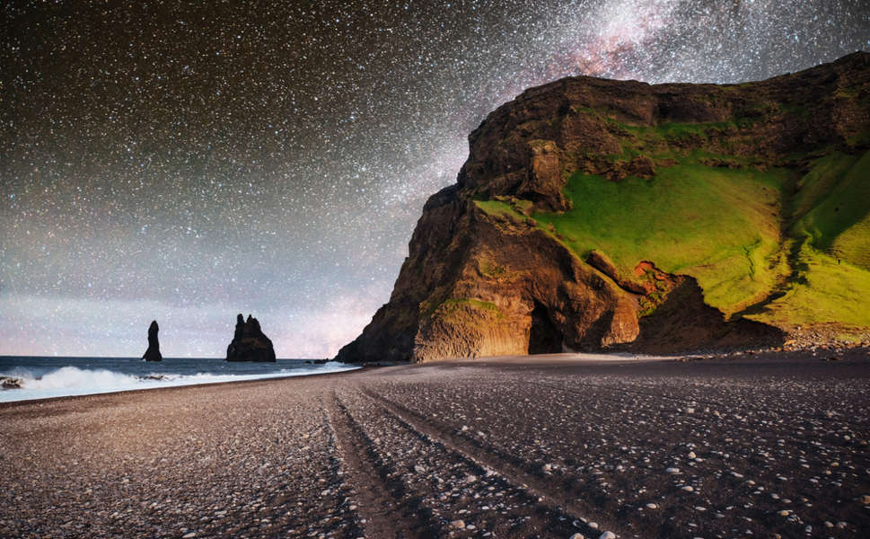 black sand beach under the stars in south Iceland, among the best Iceland beaches